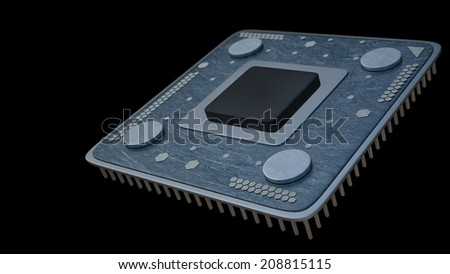 Processor unit CPU concept isolated on black background 3d render  - stock photo