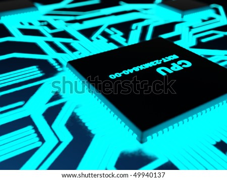 Processor with glowing blue paths in a dark - stock photo