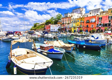 Procida -beautiful colorful small island of Italy - stock photo