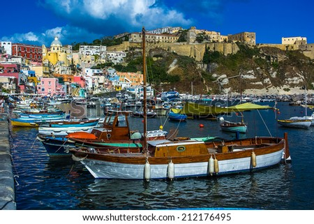 Procida beautiful island in the Tyrrhenian Sea in Italy