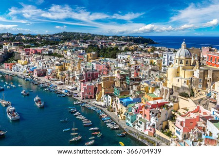 Procida island in a beautiful summer day in Italy - stock photo