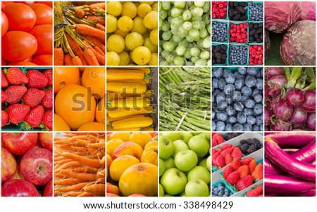 Produce collage of popular fruits and vegetables in the pattern of a rainbow