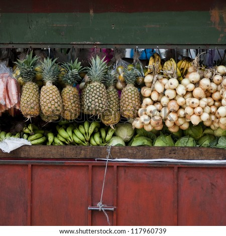 Produce in an open market in San Jose, Costa Rica - stock photo
