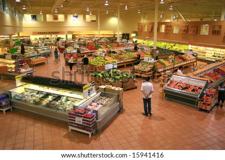 Produce Section of a Large Food Supermarket - stock photo