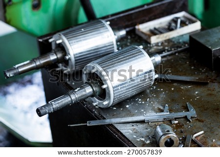 produced spare parts in factory. - stock photo