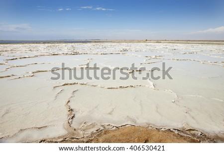 Producing sea salt in Swakopmund, Namibia, Africa. - stock photo