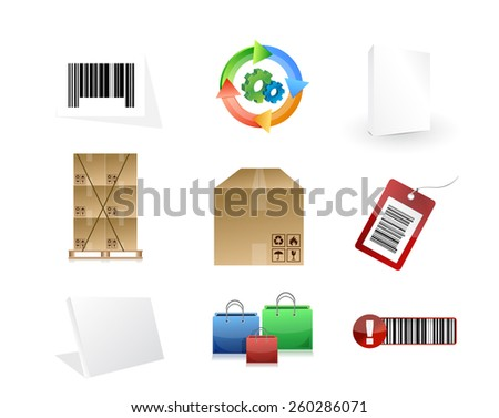 product concept icon set illustration design over white - stock photo