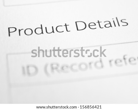 PRODUCT DETAILS on a printed form
