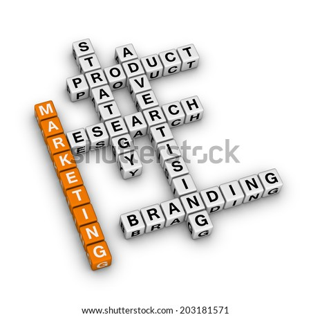 product marketing (orange-white crossword series) - stock photo