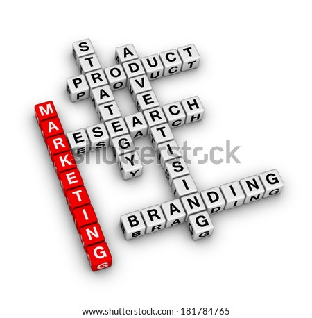product marketing (red-white crossword series) - stock photo
