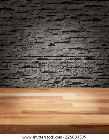 Product photo template wooden table modern stone wall background - stock photo