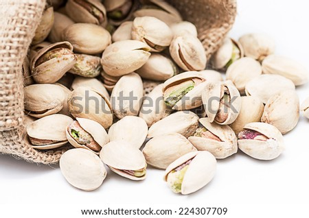 Product photography of a bag of pistachios on white background - stock photo