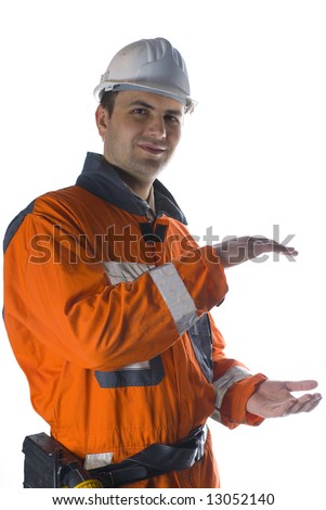 Product photography, worker holding your product stock photo