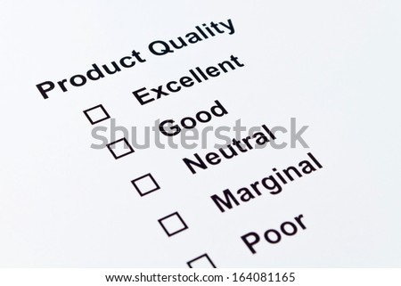 product quality feedback isolated over white background - stock photo