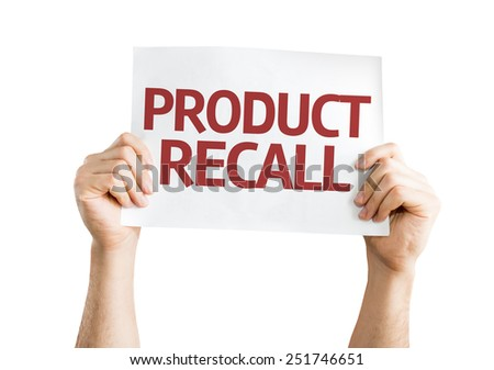 Product Recall card isolated on white background - stock photo