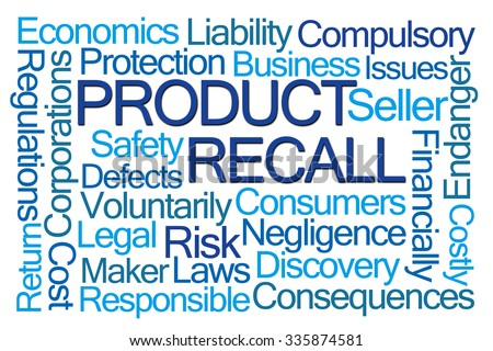Product Recall Word Cloud on White Background - stock photo