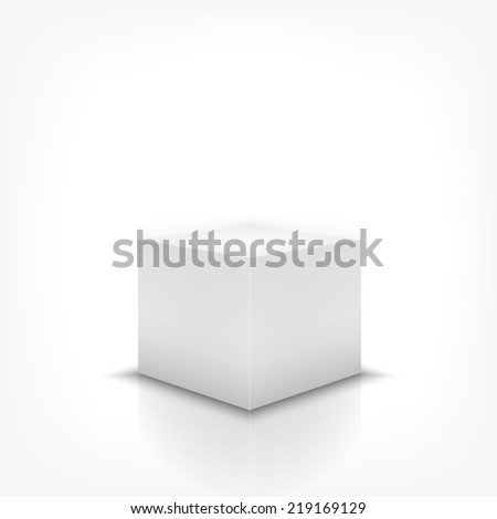 Product stand 3d box on white background with reflection. Rasterized version - stock photo