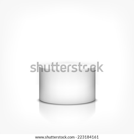 Product stand 3d cylinder on white background with reflection. Rasterized version. - stock photo