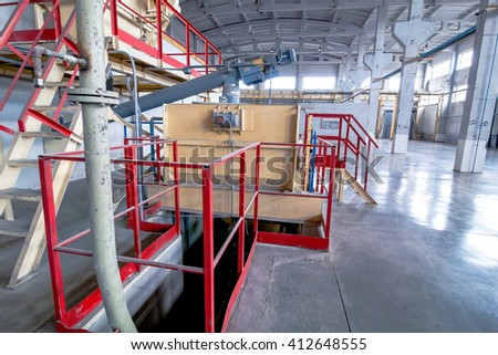 production facilities with tank at factory producing blocks