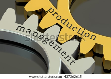 production management concept on the gearwheels, 3D rendering - stock photo
