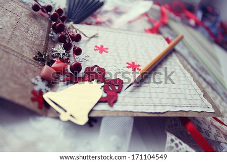 production of Christmas cards scrapbooking - stock photo