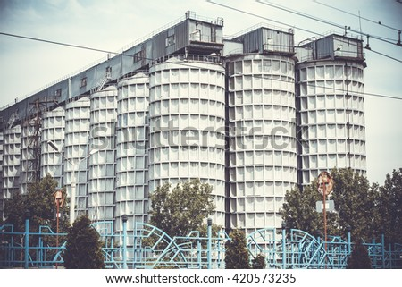 Production. Old  industrial buildings background, mechanized bakery building