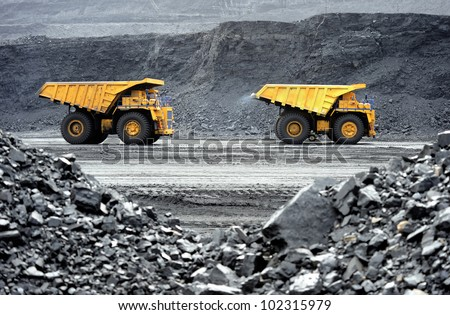 Production useful minerals. the dump truck - stock photo