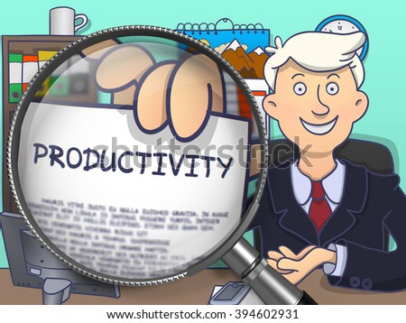 Productivity.  Businessman Welcomes in Office and Shows Paper with Inscription through Magnifying Glass. Multicolor Modern Line Illustration in Doodle Style. - stock photo