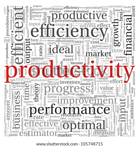 Productivity concept in word tag cloud on white background - stock photo