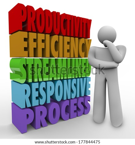 Productivity Efficiency Streamline Responsive Process 3D Words Thinker - stock photo