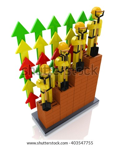 Productivity progress growth in the construction industry - professional growth.3D Illustration - stock photo