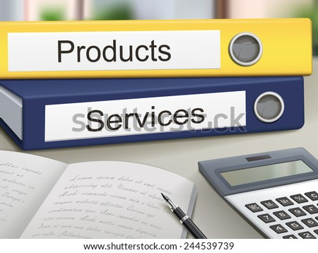 products and services binders isolated on the office table - stock photo