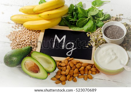Products containing magnesium. Healthy food. View from above