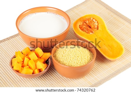 Products for cooking millet porridge with pumpkin - stock photo