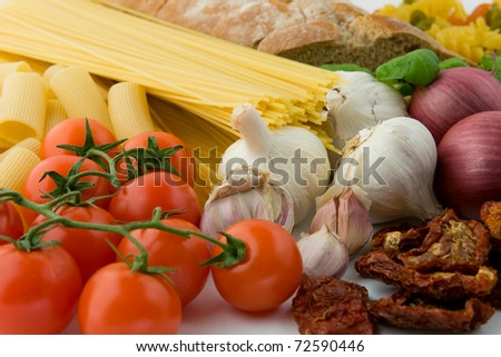 Products for pasta. Mediterranean food