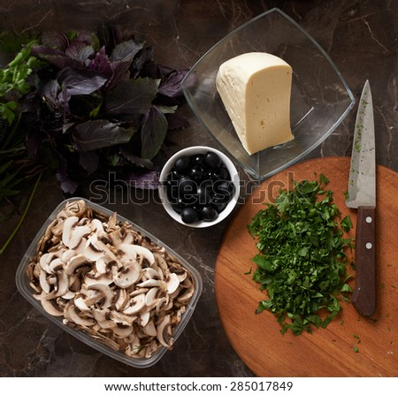 products for pizza on the table - stock photo