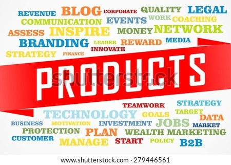 products word collage concept on red line