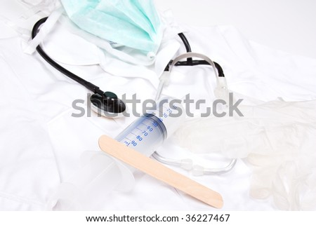 profesional medicine set on white background