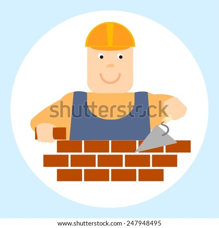 Profession.Builder.Illustration. - stock photo