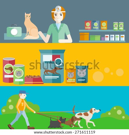 Profession concept with female veterinarian checking heartbeat of orange cat with stethoscope in vet clinic. Man walking with dogs on leash. Pet foods concept on banners in flat design. Raster version - stock photo