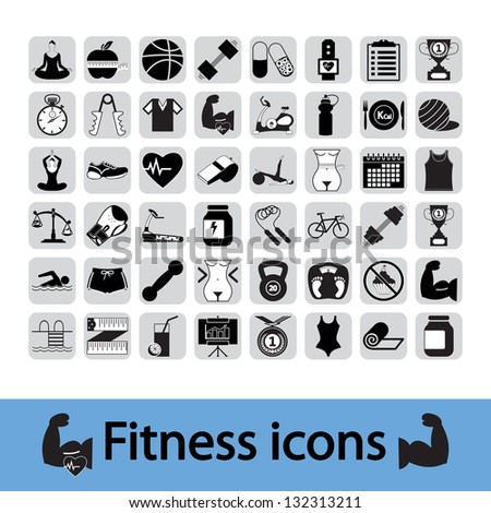 Professiona fitnessl icons for your website. Vector version also available in my portfolio. - stock photo
