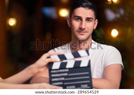 Professional Actor Ready for a Shoot - Portrait of a handsome man a ready to film a new scene   - stock photo