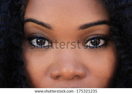 Professional African American Business Woman Smiling Looking At Camera Eyes Artistic - stock photo