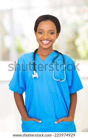 professional african american female medical worker in office - stock photo