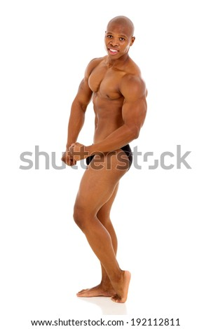 professional african american male bodybuilder isolated on white background - stock photo