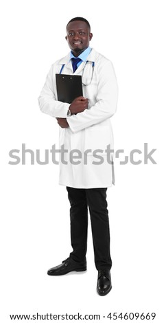 Professional African doctor with clipboard, isolated on white