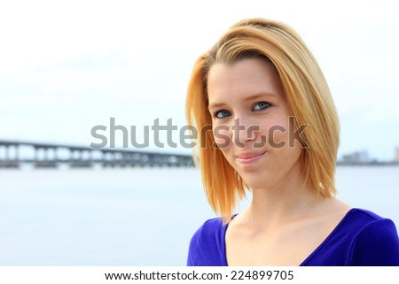 Professional Attractive Business Person Blonde Woman Smiling and Happy  - stock photo