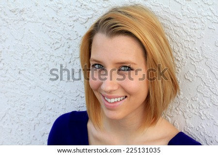 Professional Attractive Business Woman Person Smiling and Happy Blonde  - stock photo