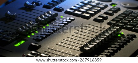 Professional audio mixer close-up, macro - stock photo