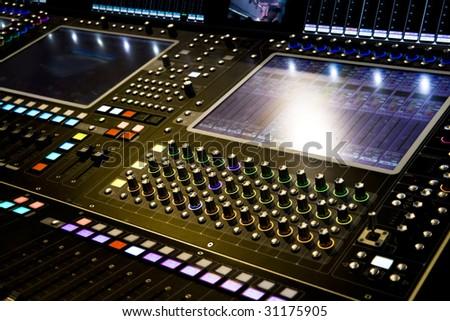 professional audio mixer desk at he Concert - stock photo
